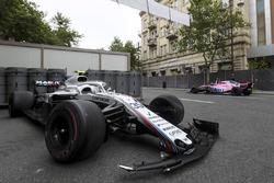 The crashed car ofSergey Sirotkin, Williams FW41