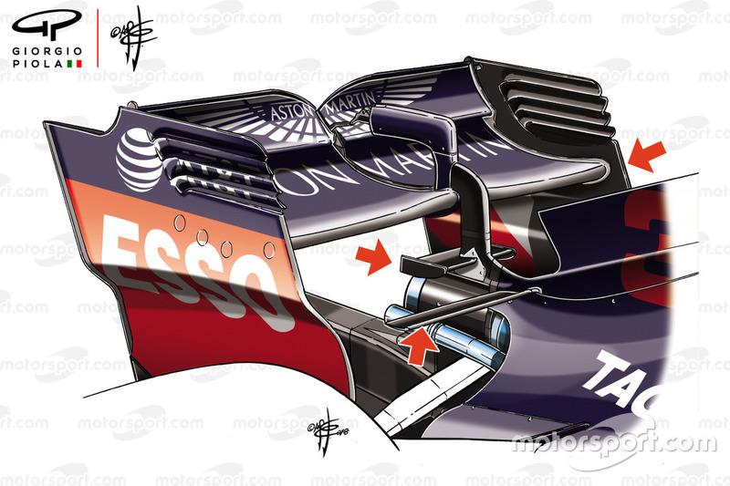 Red Bull RB14, dettaglio dell'ala posteriore