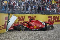 Sortie de piste pour Sebastian Vettel, Ferrari SF71H