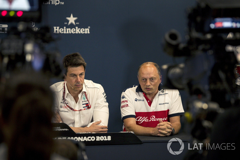Toto Wolff, Mercedes AMG F1 Director of Motorsport and Frederic Vasseur, Sauber, Team Principal in the Press Conference