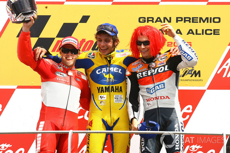 2006: 1. Valentino Rossi, 2. Loris Capirossi, 3. Nicky Hayden