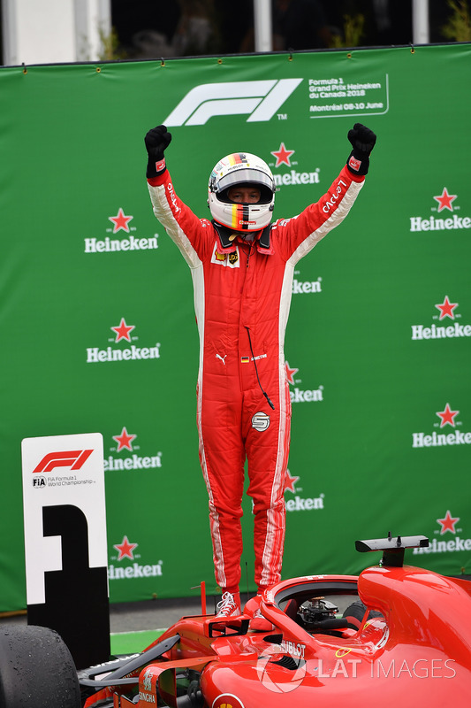 Race winner Sebastian Vettel, Ferrari SF71H celebrates in parc ferme