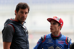 Marc Marquez, tests the Toro Rosso F1 car, with ex Formula 1 driver, Mark Webber