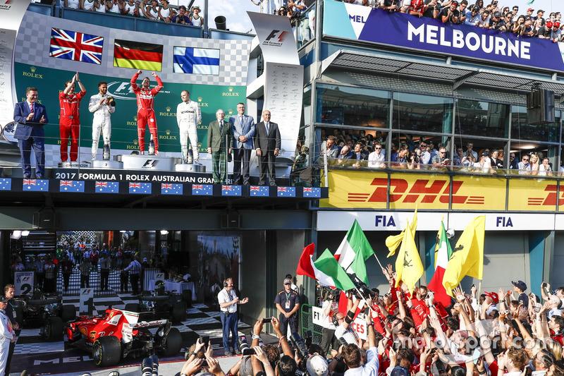 Podium: Luigi Fraboni, Motorenchef, Ferrari; 2. Lewis Hamilton, Mercedes AMG; 1. Sebastian Vettel, Ferrari; 3. Valtteri Bottas, Mercedes AMG