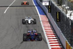 Daniil Kvyat, Scuderia Toro Rosso STR12, Lance Stroll, Williams FW40 and Stoffel Vandoorne, McLaren MCL32