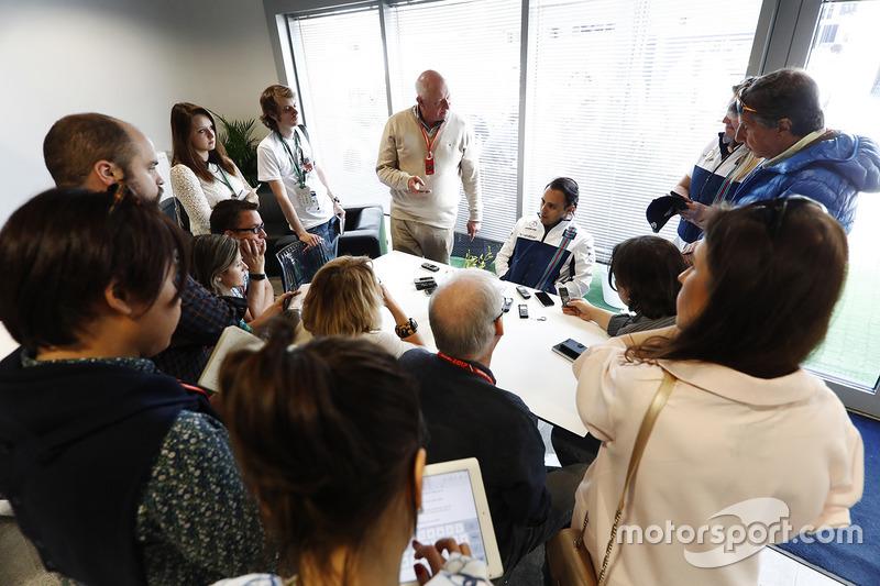 Felipe Massa, Williams, speaks to the media