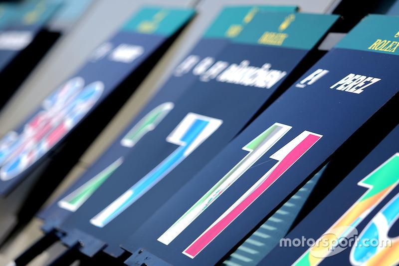 Sergio Perez, Sahara Force India F1, Schilder Startaufstellung