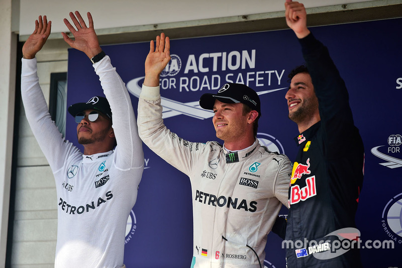 Qualifying top three in parc ferme : second place Lewis Hamilton, Mercedes AMG F1, polesitter Nico Rosberg, Mercedes AMG F1, third place Daniel Ricciardo, Red Bull Racing