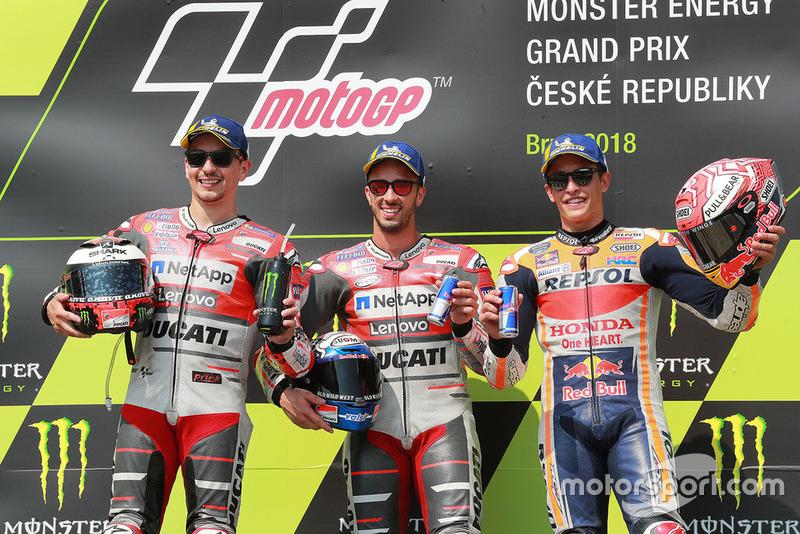 Podio Andrea Dovizioso, Ducati Team, segundo Jorge Lorenzo, Ducati Team, tercera plaza Marc Marquez, Repsol Honda Team