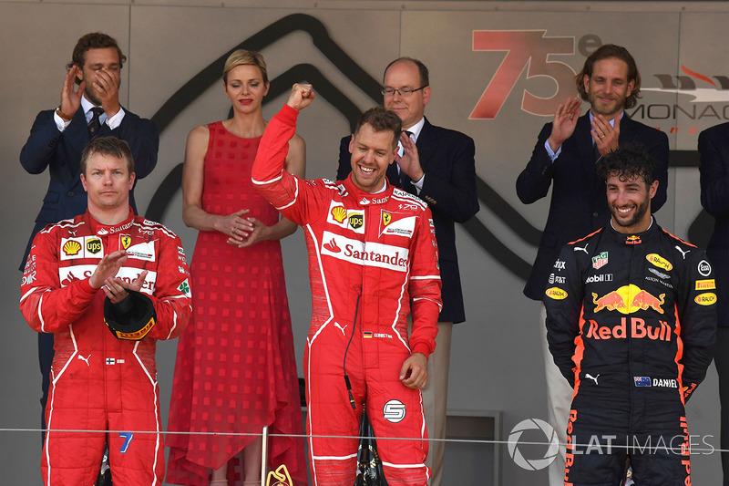 2017: 1. Sebastian Vettel, 2. Kimi Raikkonen, 3. Daniel Ricciardo