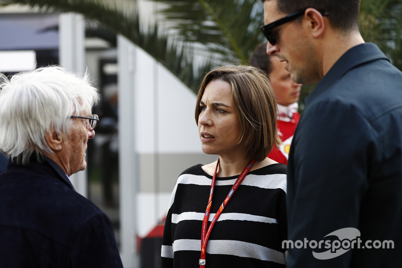 Bernie Ecclestone, Chairman Emeritus of Formula 1, talks to Claire Williams, Deputy Team Principal, Williams