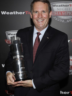 Mark Kent of Chevrolet with GTLM Manufacturers' trophy