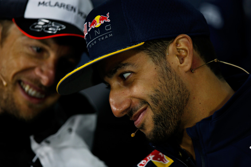 Daniel Ricciardo, Red Bull Racing and Jenson Button, McLaren talk in the Drivers Press Conference