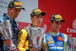 Second place Alexander Albon, DAMS, race winner Jack Aitken, ART Grand Prix, third place Lando Norris, Carlin