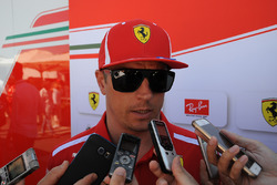 Kimi Raikkonen, Ferrari talks with the media