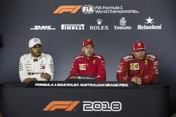 Lewis Hamilton, Mercedes-AMG F1, Sebastian Vettel, Ferrari and Kimi Raikkonen, Ferrari in the Press Conference