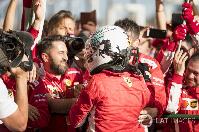 Sebastian Vettel, Ferrari, 1st position, and the Ferrari team celebrate in Parc Ferme