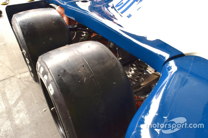 The front wheels of Pierluigi Martini's Tyrrell P34