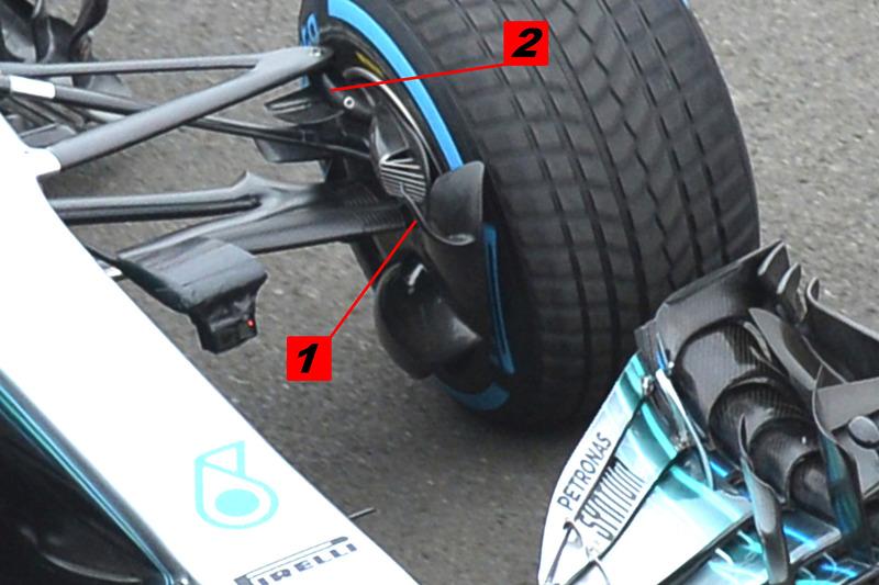 Mercedes AMG F1 W09 remmen en ophanging detail