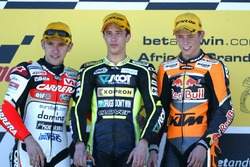 Podium: Roberto Locatelli, Andrea Dovizioso and Casey Stoner