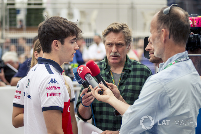 Charles Leclerc, Sauber talks with the media