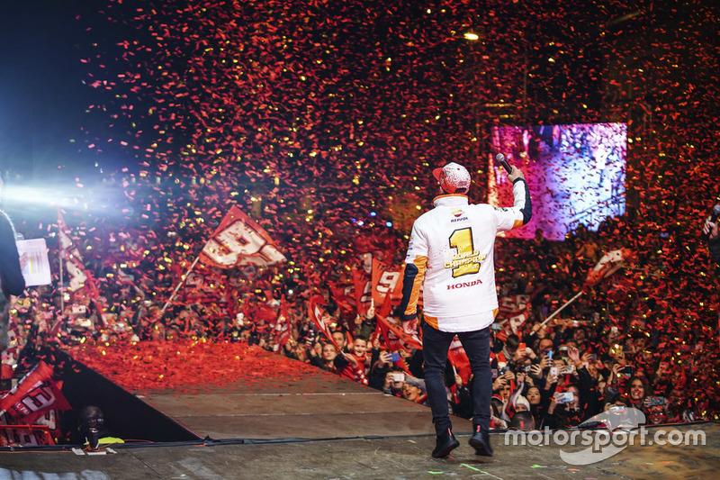 Il Campione 2018 Marc Márquez, Repsol Honda Team festeggia a Cervera