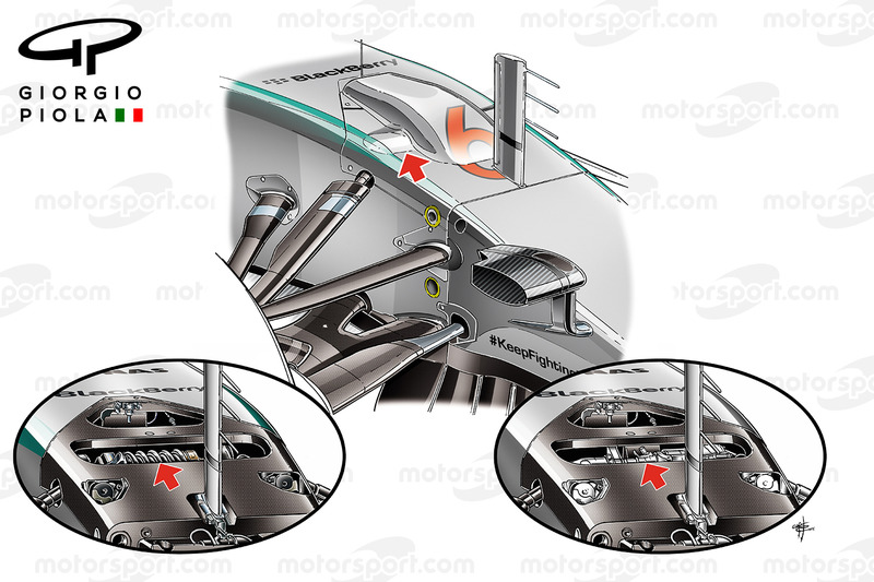 Mercedes W06 hydraulic parts, front suspension