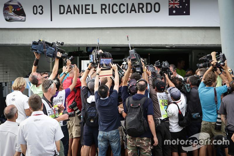 Media at the Red Bull Racing garage of race winner Daniel Ricciardo, Red Bull Racing