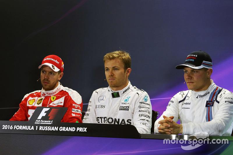 Press conference: Polesitter Nico Rosberg, Mercedes AMG F1 Team, second place Sebastian Vettel, Ferrari, third place Valtteri Bottas, Williams