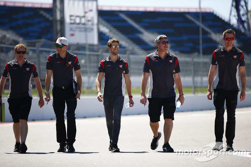 Romain Grosjean, Haas F1 Team, conducts a track walk