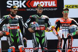 Podium : le vainqueur Jonathan Rea, Kawasaki Racing, le deuxième, Tom Sykes, Kawasaki Racing, le troisième, Marco Melandri, Ducati Team