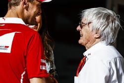 Sebastian Vettel, Ferrari, with Bernie Ecclestone, Chairman Emiritus of Formula 1