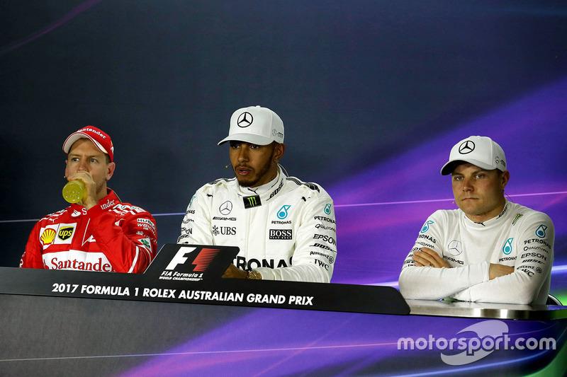 Rueda de prensa: Sebastian Vettel, Ferrari, Lewis Hamilton, Mercedes AMG F1, Valtteri Bottas, Merced