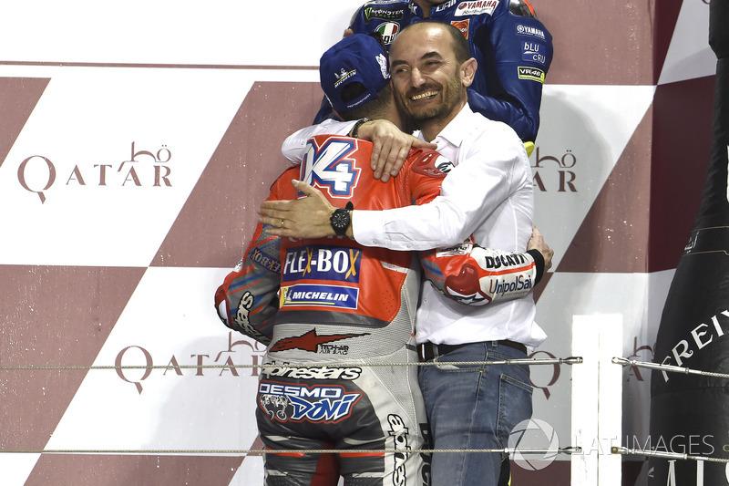Клаудіо Доменікале, генеральний директор Ducati, переможець гонки Андреа Довіціозо, Ducati Team