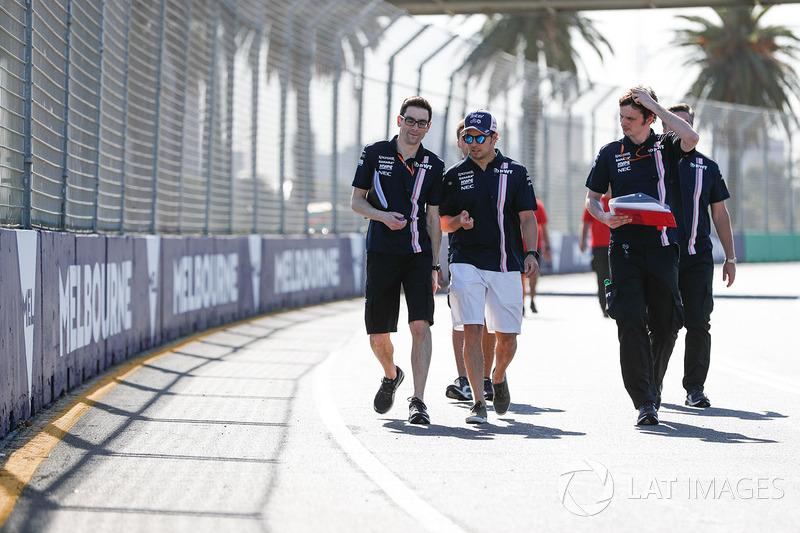 Track walk wth Sergio Perez, Force India