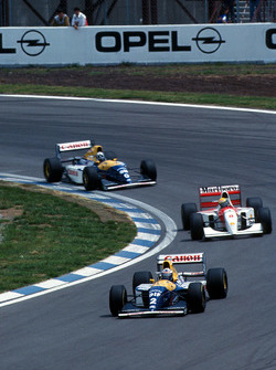 Alain Prost, Williams FW15C leads Ayrton Senna, McLaren MP4/8 and Damon Hill, Williams FW15C