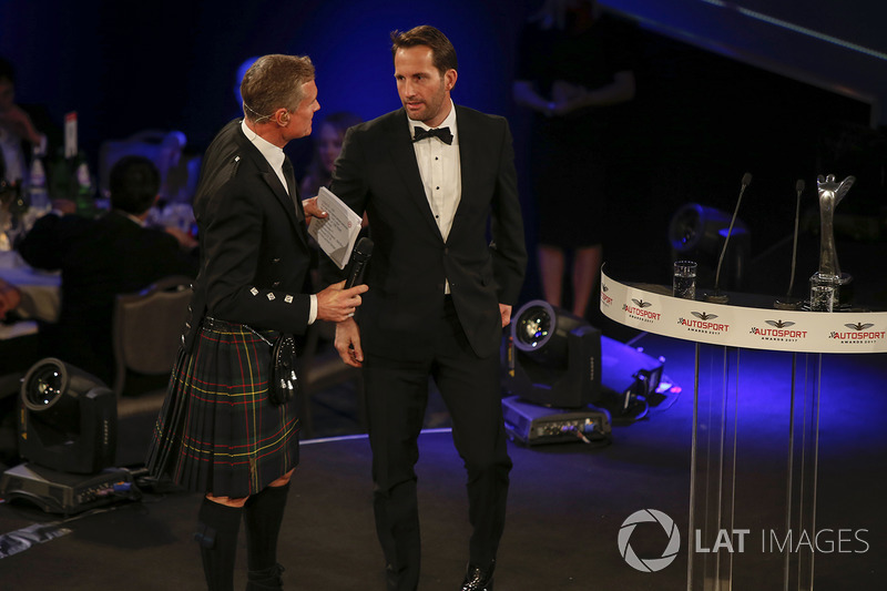 Ben Ainslie on stage with David Coulthard