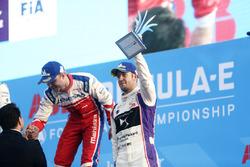 Felix Rosenqvist, Mahindra Racing, Sam Bird, DS Virgin Racing, on the podium