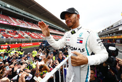 Lewis Hamilton, Mercedes AMG F1, 1st position, celebrates with fans