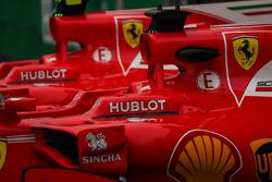 Le monoposto di Sebastian Vettel, Ferrari SF70H e Kimi Raikkonen, Ferrari SF70H nel parco chiuso