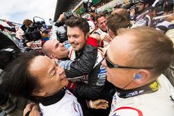 Toyota mechanics celebrate winning Le Mans 2018