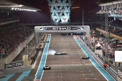 Race winner Valtteri Bottas, Mercedes-Benz F1 W08  and Lewis Hamilton, Mercedes-Benz F1 W08  perform donuts