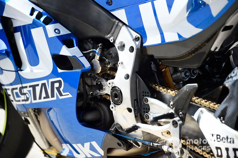 Team Suzuki MotoGP bike detail at Sepang February testing on February 06th, 2019