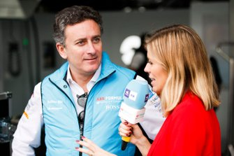 Alejandro Agag, CEO, Formula E being interviewed by TV Presenter Nicki Shields