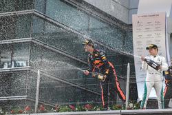Race winner Daniel Ricciardo, Red Bull Racing, second place Valtteri Bottas, Mercedes AMG F1