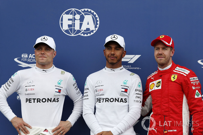 Valtteri Bottas, Mercedes-AMG F1, Lewis Hamilton, Mercedes-AMG F1 ve Sebastian Vettel, Ferrari, parc ferme