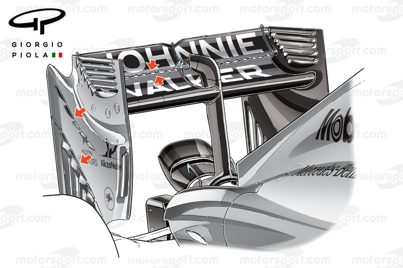 McLaren MP4/29 rear wing vortex