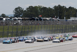 Crash: Daniel Suarez, Joe Gibbs Racing, Toyota, Brennan Poole, Chip Ganassi Racing, Chevrolet, Matt