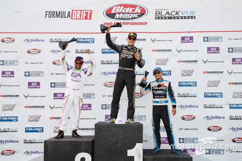 Podium: race winner Fredric Aasbo, second place Michael Essa, third place Daijiro Yoshihara