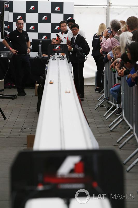 School children take part in a model car race organised by the F1 in Schools initiative